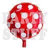 Фольгированный воздушный шар Полька красный, 44 см
