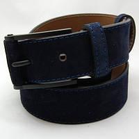 Ремень замшевый унисекс JK темно-синий (7356)