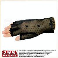 """Чёрные перчатки-митенки """"Playboy"""" короткие, гипюровые"""