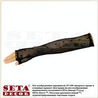 """Чёрные перчатки-митенки """"Playboy"""" длинные,высокие, гипюровые"""