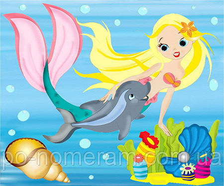 Детская раскраска на холсте Дельфин и русалка (7131) 25 х ...