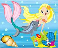 Детская раскраска на холсте Дельфин и русалка (7131) 25 х 30 см