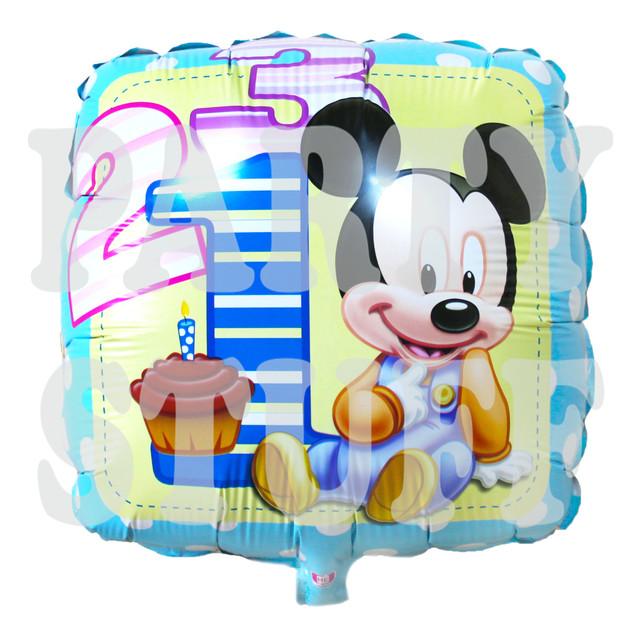 фольгированный шар Микки Маус голубой