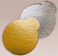 Подложка под торт круглая серебро/золото 90*90