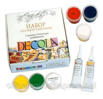 Краска DECOLA по стеклу и керамике,5цв.по 20мл+контуры