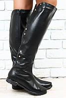 Сапоги черные кожаные евро зима без каблука с металлическими кнопками низкий ход р.37,40