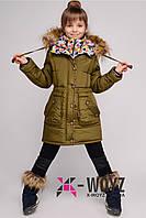 Зимнее стильное пальто для девочки c капюшоном DT-8239, разные цвета