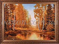 """Картина из янтаря """"Лесной закат"""" 20х30 см"""