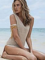 Легкая туника для пляжа песочного цвета, фото 1
