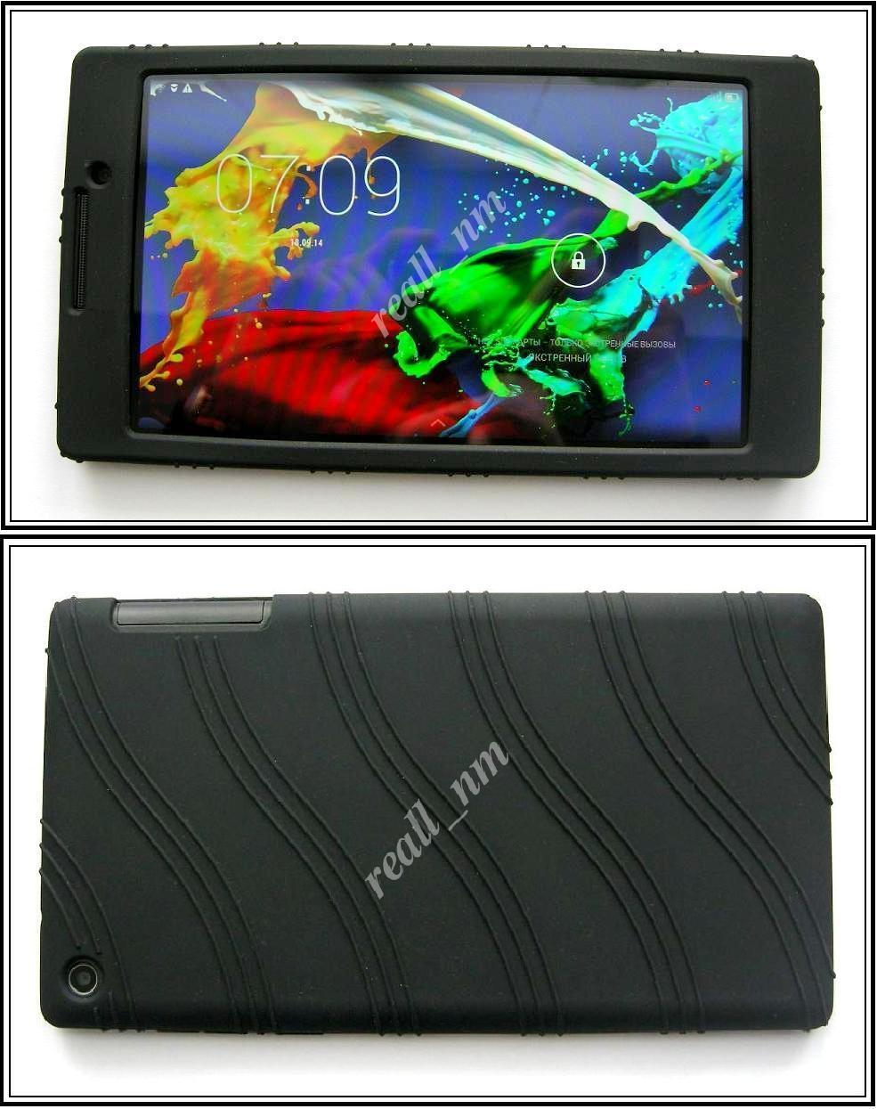 Черный силиконовый чехол-бампер для планшета Lenovo Tab 2 A7-20F