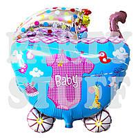 Фольгированный шар детская Коляска розовая, 68 см