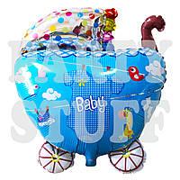 Фольгированный шар для новорожденного Коляска голубая