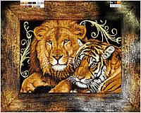 """Схема для вышивки бисером на подрамнике (холст) """"Лев и тигр - дружная пара"""""""