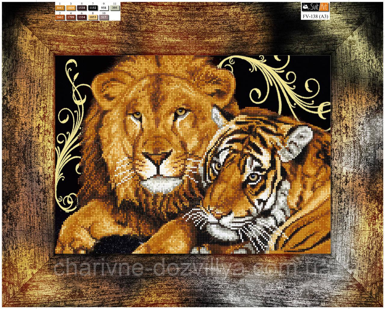 схема льва для вышивки из бисера
