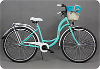 """Велосипед Goetze STYLE - 28"""" 3-передачи + фара и корзина в подарок (бирюза)"""