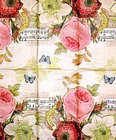 Редкая салфетка декупажная Розы, ноты, бабочки 739