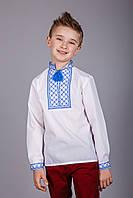Рубашка вышитая для мальчика с вышивкой синего цвета