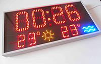 Часы-календарь термометр воздуха и воды красные