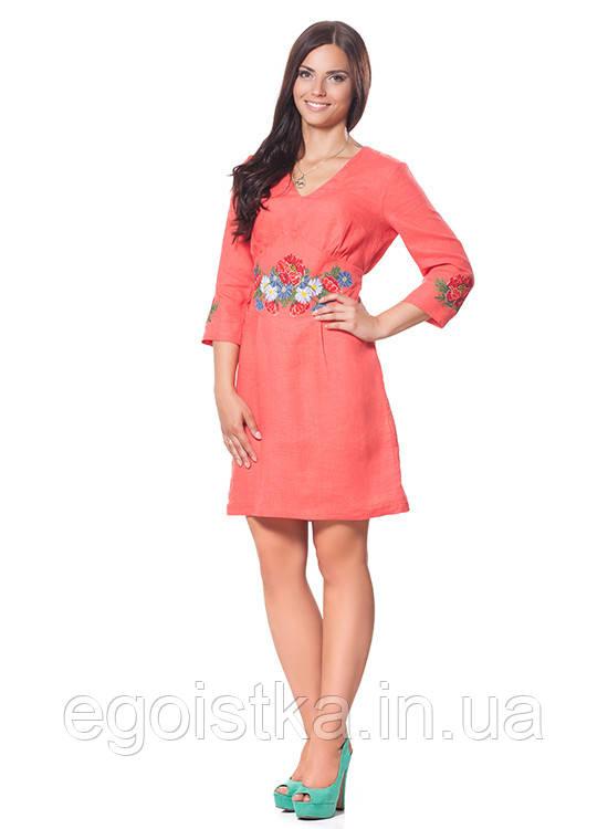 Коралловое льняное платья с вышивкой - Интернет-магазин