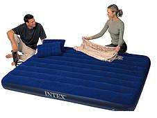 Матрас велюровый, ручной насос, 2 подушки Intex (68765)