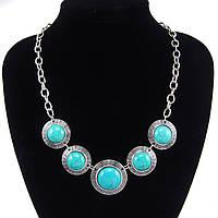 Ожерелье/колье/украшение/бусы с бирюзовыми камнями, бирюза, камень удачи