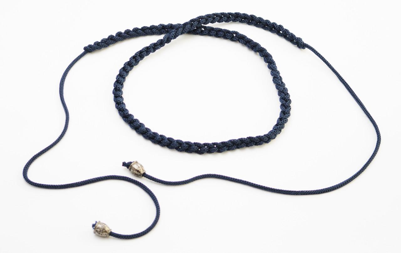 Стильный черный плетеный женский поясок-завязка ручной работы