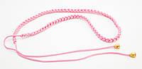 Оригинальный розовый плетеный женский поясок-завязка ручной работы