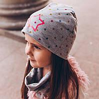 Яркий комплект (шапка и шарф-снуд) серый конфетти.