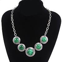 Ожерелье/колье/украшение/бусы с (малахитом) зелеными камнями