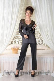Чорна піжама з халатом Onyx ТМ Комильфо L