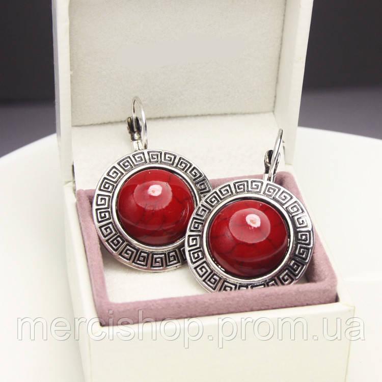 Серьги (сережки) с красным камнем (+гипоаллергенное покрытие) коралл - Интернет-магазин подарков Merci shop в Киеве