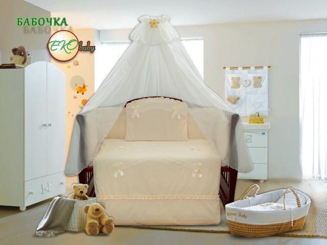 Детский постельный комплект «Бабочка» (Бежевый, 7 элементов), EkoBaby