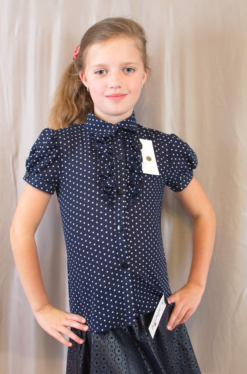 Стильна шкільна блуза в горошок з рукавом ліхтарик, р. 140,146,152,158.