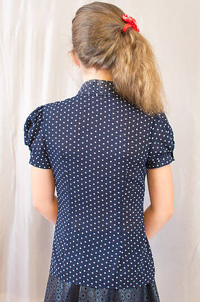 Стильна шкільна блуза в горошок з рукавом ліхтарик, р. 140,146,152,158., фото 3