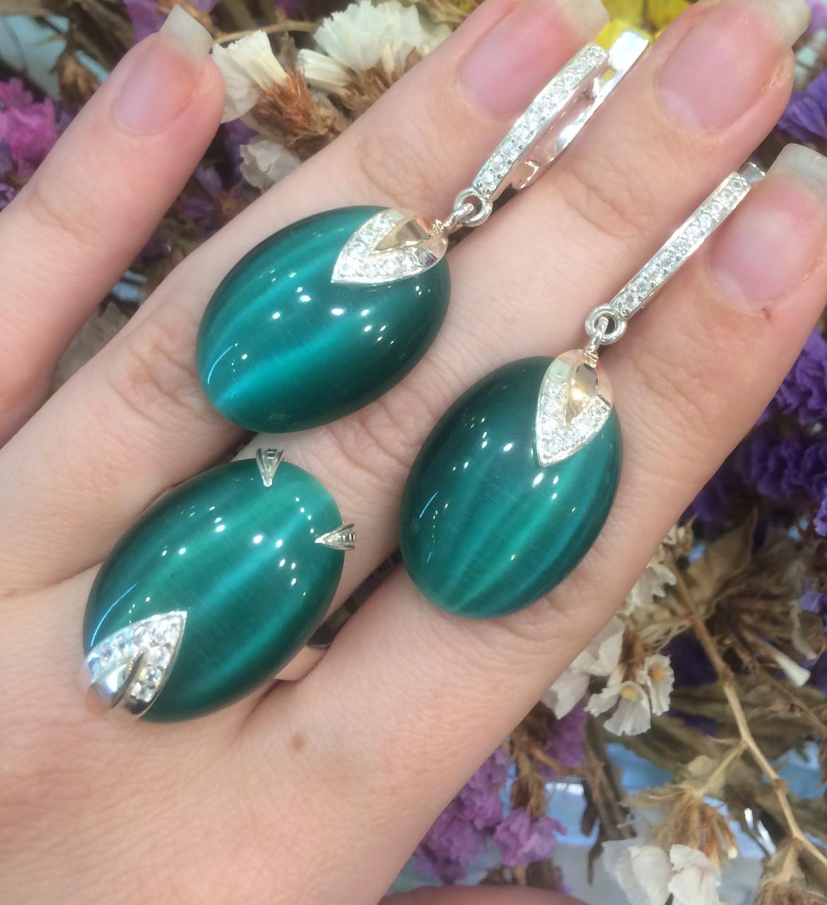 Серебряный комплект Стефания: серьги и кольцо с зеленым улекситом