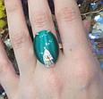 Серебряный комплект Стефания: серьги и кольцо с зеленым улекситом, фото 2