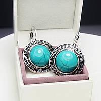 Серьги (сережки) с бирюзовым камнем (+гипоаллергенное покрытие) бирюза, камень удачи