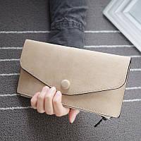 Стильный женский кошелек клатч кофейного цвета