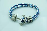 Плетенный морской браслет с якорем. Бижутерия оптом RRR. 865