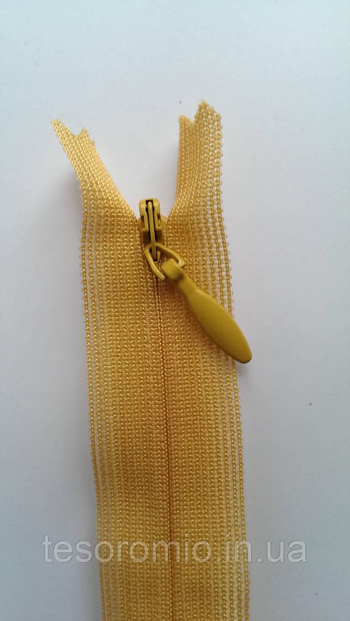 Молния потайная 60см YKK Плательная желтая нейлон