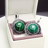 Серьги (сережки) с зеленым камнем (+гипоаллергенное покрытие) малахит