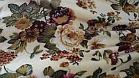 Махровая бежевая ткань «Розы», ширина 200 см