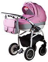 Детская коляска Adamex ACTIVE LEN 90L малиновый(меланж)-серый