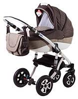 Детская коляска Adamex ERIKA ECO 633K коричневый(плетение)-шоколад(лен)