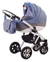 Детская коляска Adamex ERIKA ECO 646K серый(синее плетение)-голубой лен