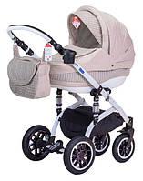 Детская коляска Adamex LARA ECO БЕЛАЯ РАМА 638K бежевый-капучино(плетенка)-бежевый