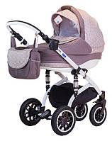 Детская коляска Adamex LARA LEN 265W бежевый(коричневые ромашки)-коричневый лен