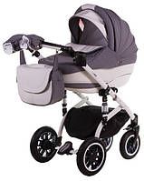 Детская коляска Adamex LARA КОЖА 50% БЕЛАЯ РАМА 714S серый (белая, черная точка) - белая кожа