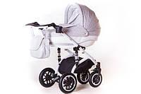 Детская коляска Adamex LARA КОЖА 50% БЕЛАЯ РАМА 716S серый(цветочки)-белая кожа