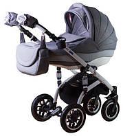 Детская коляска Adamex LARA КОЖА 50% БЕЛАЯ РАМА 839S серый лен-серая кожа выдавл.точки